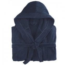 peignoir capuche bleu marine 100% Coton