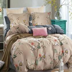 Housse de couette réversible 220x240 fleurs taupe 100% Coton 80 fils Percale