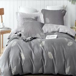 Housse de couette réversible 220x240 Fougères grises 100% Coton 80 fils Percale