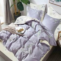 Housse de couette réversible 220x240 fleurs Lilas 100% Coton 80 fils Percale