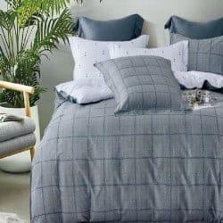 Housse de couette réversible 220x240 Azulejo gris 100% Coton 80 fils Percale
