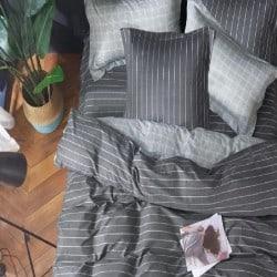 Housse de couette réversible 220x240 Linéal gris 100% Coton 80 fils Percale