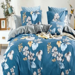 Housse de couette réversible 220x240 Fleurs Bleues 100% Coton 80 fils Percale