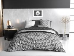 Housse de couette réversible 220x240 cm 100 % Coton 57 fils - Black & White