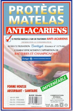Protège Matelas Eponge Bouclette Imperméable anti-acariens, forme drap housse