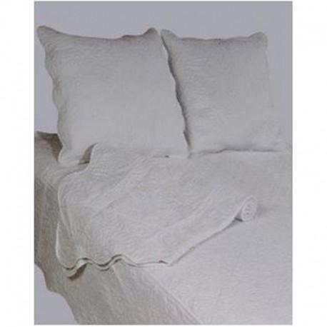couvre lit boutis uni blanc blanc cass rouge et gris clair. Black Bedroom Furniture Sets. Home Design Ideas