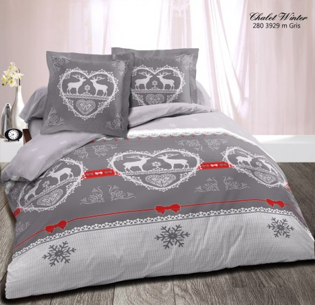 housse de couette 220x240 chalet winter rouge et gris pour lit 2 places. Black Bedroom Furniture Sets. Home Design Ideas