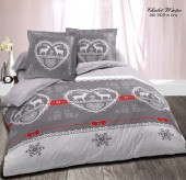 Drap housse 140 Chalet Winter Gris