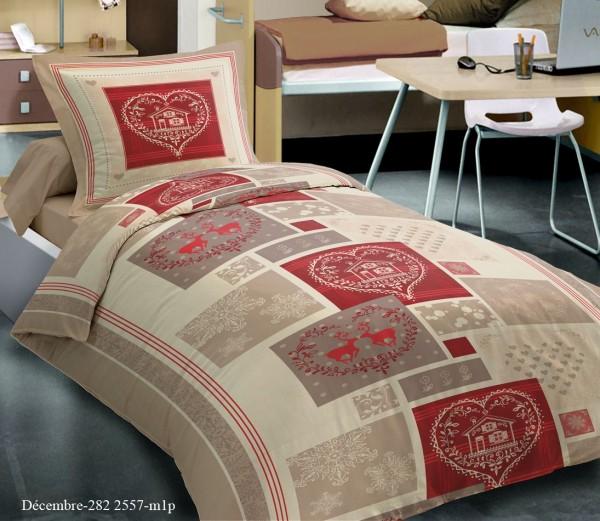 Parure de draps 3 pieces chalet winter rouge gris pour lit - Housse de couette grise et rouge ...