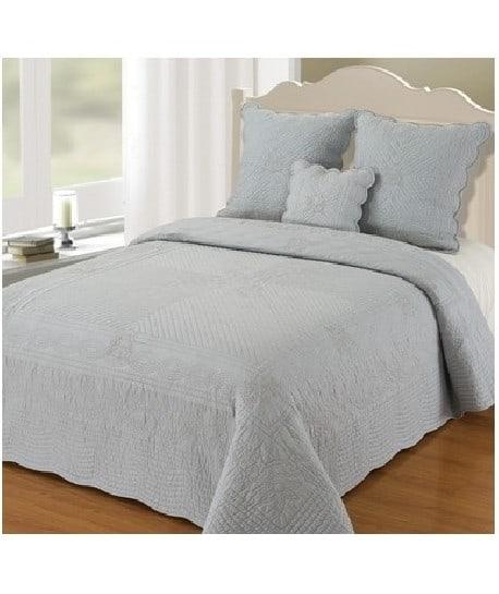 boutis couvre lit peace land soft gris 230x250 - Couverture Lit