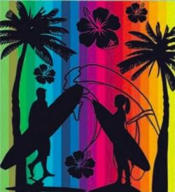 Serviette de plage COUPLE SURF MULTICOULEUR DOUBLE 160 x 180