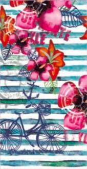 Serviette de plage BYCICLETTE & FLOWER 95x175