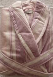 Peignoir Velours Col Châle, Violet Rose Pastel Rayure (Taille L)