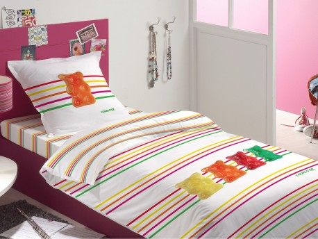 Housse de Couette 140x200 Haribo Fluo Stripes