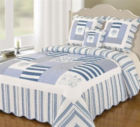 boutis couvre lit bleu marine 230x250. Black Bedroom Furniture Sets. Home Design Ideas