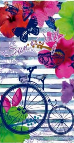 Serviette de plage Sun & Surf Bicyclette 95x175
