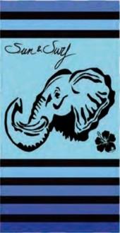 Serviette de plage Éléphant Fond Bleu Sun & Surf 95x175