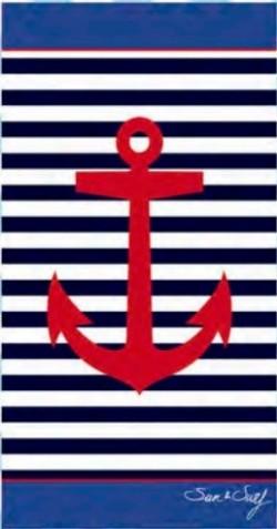 Serviette de plage Ancre Rouge sur Fond Marin 95x175