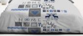 Drap Housse Montagne Bleu 140x190 Cerf Des Neiges