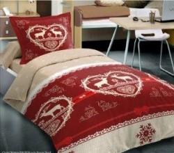 Drap housse Chalet Winter Rouge 90x190