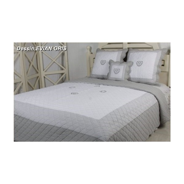 couvre lit boutis evian gris 230x250. Black Bedroom Furniture Sets. Home Design Ideas