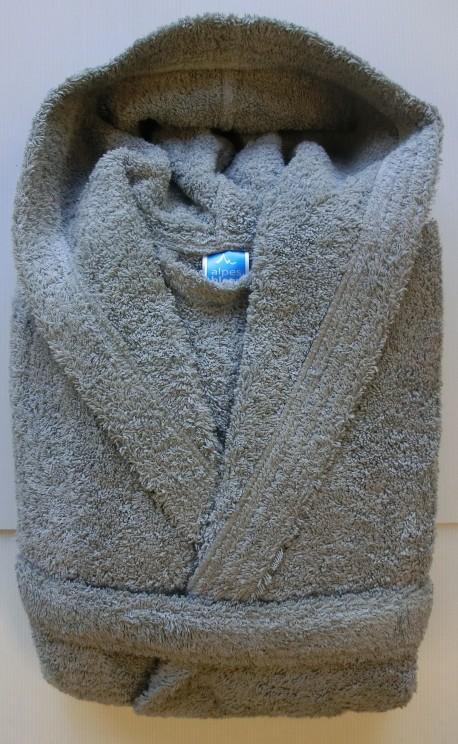 Peignoir Capuche Gris - 100 % coton - 500gr/m² (Taille L)