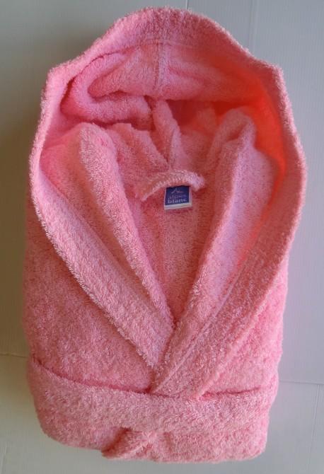 Peignoir Capuche Rose Clair - 100 % coton - 500gr/m² (Taille S)