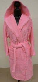 Peignoir Capuche Rose Clair - 100 % coton - 500gr/m² (Taille XL)