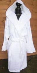 Peignoir Capuche Blanc - 100 % coton - 500gr/m² (Taille L)