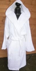 Peignoir Capuche Blanc - 100 % coton - 500gr/m² (Taille XXL)