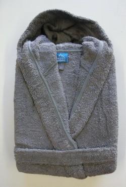 Peignoir Capuche Gris - 100 % coton - 440gr/m² (Taille L)