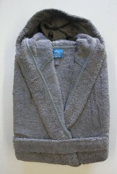 Peignoir Capuche Gris - 100 % coton - 440gr/m² (Taille XXL)