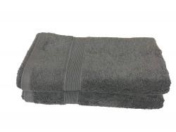 Lot de 2 Serviettes de Bain Eponge 600 g/m²  100 % coton - Anthracite