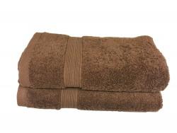 Lot de 2 Serviettes de Bain Eponge 600 g/m²  100 % coton - Marron