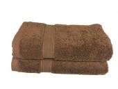 Lot de 2 Serviettes de Bain - 50x100 - Eponge 600 g/m²  100 % coton - Marron
