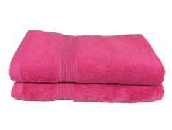 lot de 2 serviettes de bain 50x100 eponge 600 g m 100 coton fuschia. Black Bedroom Furniture Sets. Home Design Ideas