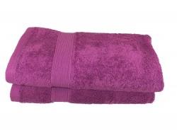 Lot de 2 Serviettes de Bain - 50x100 - Eponge 600 g/m²  100 % coton - Violette