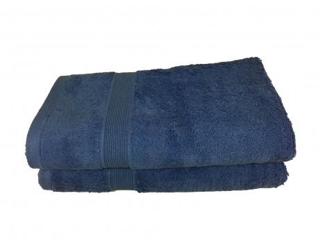 Lot de 2 Serviettes de Bain Eponge 600 g/m²  100 % coton - Bleu
