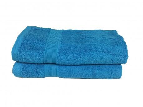 Lot de 2 Serviettes de Bain Eponge 600 g/m²  100 % coton - Turquoise