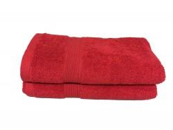 Lot de 2 Serviettes de Bain Eponge 600 g/m²  100 % coton - Rouge
