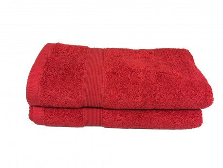 lot de 2 serviettes de bain 50x100 eponge 600 g m 100 coton rouge. Black Bedroom Furniture Sets. Home Design Ideas