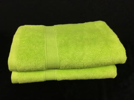Lot de 2 Draps de Bain Eponge 600 g/m²  100 % coton - Verte