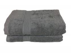 Lot de 2 Draps de Bain Eponge 600 g/m²  100 % coton - Anthracite