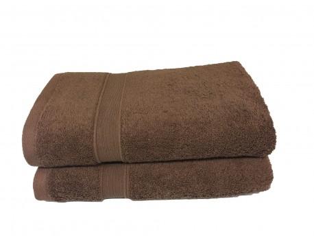 Lot de 2 Draps de Bain Eponge 600 g/m²  100 % coton - Marron