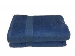 Lot de 2 Draps de Bain Eponge 600 g/m²  100 % coton - Bleu