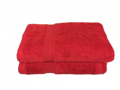 Lot de 2 Draps de Bain Eponge 600 g/m²  100 % coton - Rouge