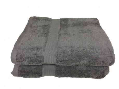 Lot de 2 Grands Draps de Bain Eponge 600 g/m²  100 % coton - Anthracite