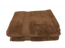 Lot de 2 Grands Draps de Bain Eponge 600 g/m²  100 % coton - Marron