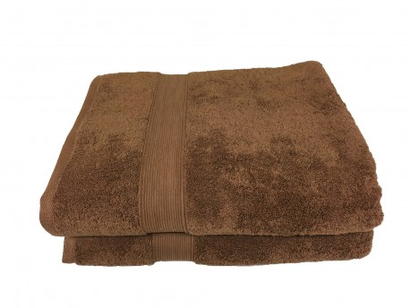 lot de 2 grands draps de bain 100x150 eponge 600 g m 100 coton marron. Black Bedroom Furniture Sets. Home Design Ideas