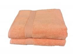 Lot de 2 Grands Draps de Bain Eponge 600 g/m²  100 % coton - Corail